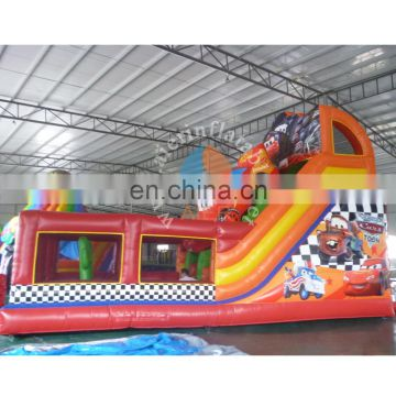 2017 new giant inflatable slide/ inflatable dry slide with castle / red car slide for adult