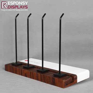 W40*D59*H253mm Wall-hanging Wood Belt Display Stand with Hooks