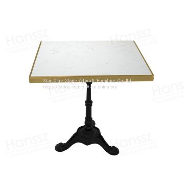 DT043 cheap price square white marble dining table top slab customized cast iron solid legs