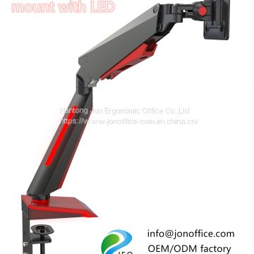 2020 computer gaming monitor mount arm clamp stand with LED light OEM ODM factory Jonoffice