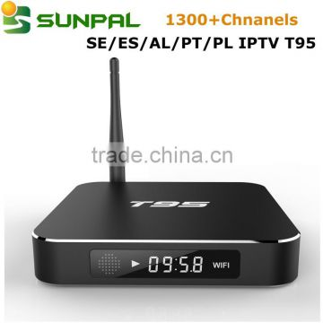 Sweden IPTV Swedish Channels Albania Turkish iptv 1300+ channels with  android tv box T95 Combo for sale , Supplier's Choice