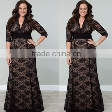 F20340A Latest fashion plus size dress for fat women lace dress patterns  long sleeve black evening dress for fat women , Quality Choice