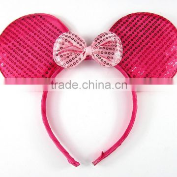 Sequin Mickey or Minnie mouse ears headband