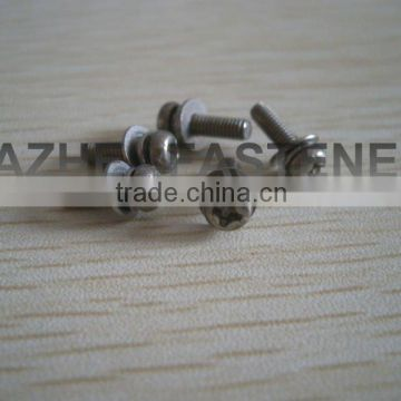 pan head PH machine screw with spring washer and flat washer SS