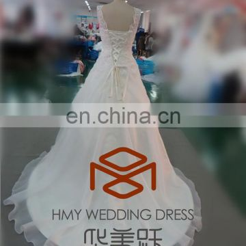 HMY-E0081 Lace Top ornate Beaded Appliques Vestidos de novia Lace-up Back A-line Alibaba Wedding Gowns