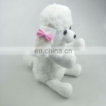 Cute 20cm white plush dog toys hold candy bag