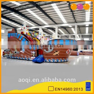 AOQI new design commercial use inflatable pirate ship slide for sale