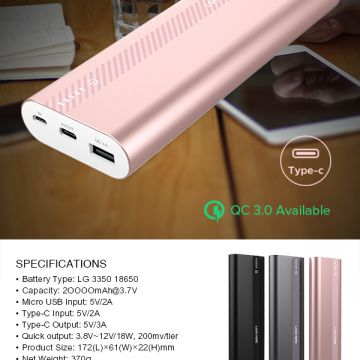 Cross border cargo QC3.0 fast charging mobile power 20000mah Type-c mobile phone charging factory direct sales