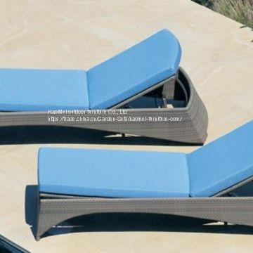 Chaise Lounge Outdoor Furniture Alu Frame PE Rattan Weave Taiwan olifen Beach Side Swimming Pool Outdoor Foam 28