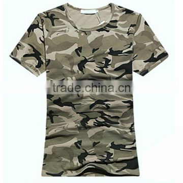 Custom Made Hot Sale Crew Neck Short Sleeved Camouflage Military T Shirts Female