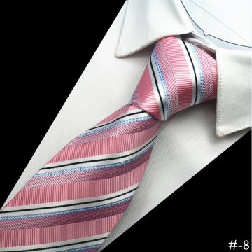 Stwill Striped Silk Woven Neckties Shirt Collar Accessories Silver