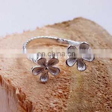 Fashion accessories opening ring double flowers argent ring