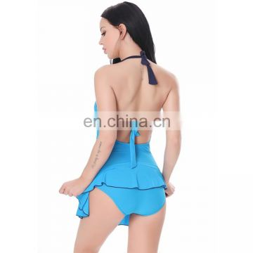 Women Sexy Ruched Two Pieces Low Bosom Backless Swimsuits Set with Briefs beachwear swimsuit