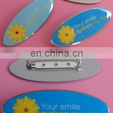 printed your logo safety pin metal name tag name badge