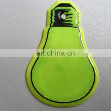 Lamp bulb shaped soft plastic reflective keyring