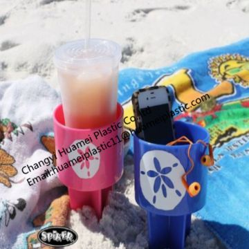 Eco-Friendly Colorful Plastic Beach Drink Cup Tray/beach beverage holder