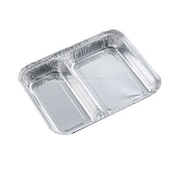 household 2- compartments disposable aluminium foil food tray aluminum foil compartment food container