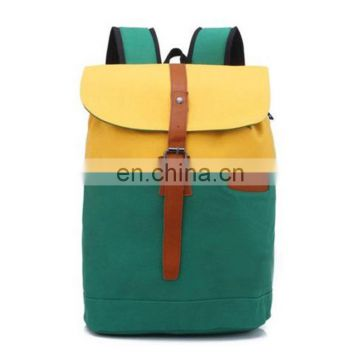 Casual Drawstring Stitching Colours Canvas Backpack