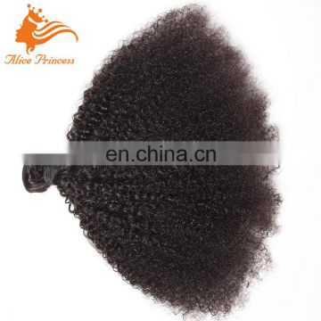 Natural Indian Human Hair Afro Kinky Hair Weaving Extensions 7A Grade Afro Culry Weft For Black Women WIg Making Sewing Machine
