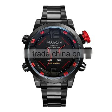 Mens Stainless Steel Digital Watches Chronograph 3ATM Sport Watch Fashion Watches