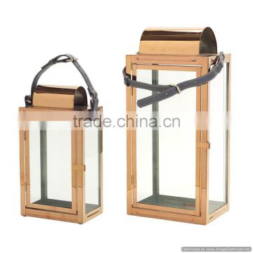 copper plated new design clear glass lantern