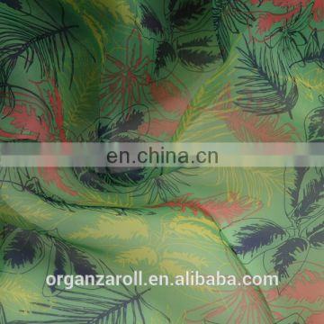 Printed organza/organdy Fabric with leaf design