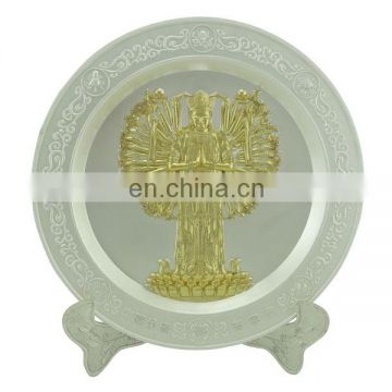 custom zinc alloy silver Thousand-hand Bodhisattva metal plate with brief