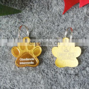 custom aluminium paw shaped with printing logo ID pet tag