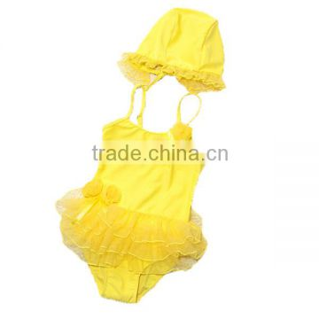 wholesale boutique 2016 New arrival lovely baby girl swimsuit+cap yellow bathing suit children toddlers one piece swimwear kids