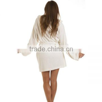 Wholesale Knee Length Soft Warm Women's Fleece Hooded Bathrobe