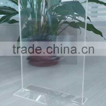 Acrylic material Made in China T shape advertising acrylic menu holder/table tent sign holder