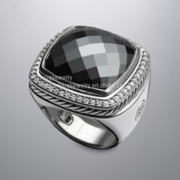 Sterling Silver Jewelry 20mm Albion Ring with Hematite(R-206)
