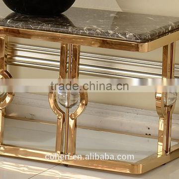 2016 factory gold plating base modern living room tv stand