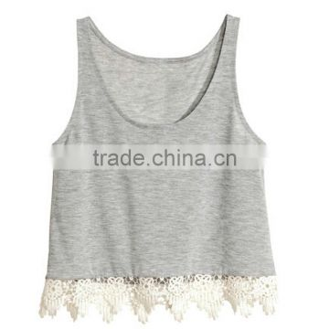 2015 Fashion ladies lace top sleeves gray color cotton tank