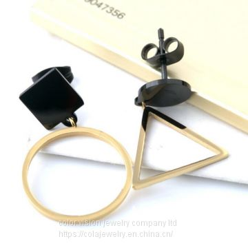 Fashion Lady Stainless Steel Geometry Ear Stud Earring 18K Gold Earring Rose Gold Stud Earring