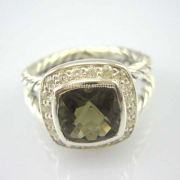 Sterling Silver Ring 7mm Smoky Quartz Petite Albion Ring(R-020)