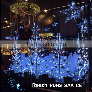 shopping mall decoration 2d metal led light tree motif christmas show window display lighting - Led Light Christmas Decorations