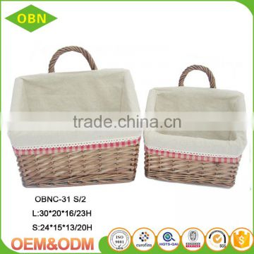 Set of 2 mail basket wicker hanging basket for storage