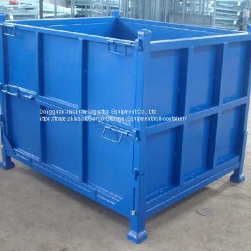 OEM Foldable Steel Pallet Box Powder Coated With Stacking Feet