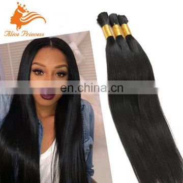 7A Grade Virgin Human Hair Bulk Natural Color Silky Straight Unprocessed Brazilian Bulk Hair Extensions Without Weft For Women