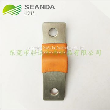 Customized orange soft copper busbar with heat shrinkable tube for battery pack