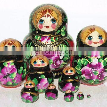 Black Matryoshka Dolls With Bright Flowers Russian Design Nesting