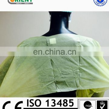 Disposable elastic wrist PE coated PP isolation gown