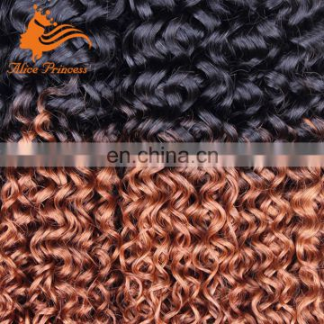 "Two Color Kinky Curly Hair Weaving 10""-30 Inch Ombre Japanese Hair Extension Bundles With Fast Shipping"