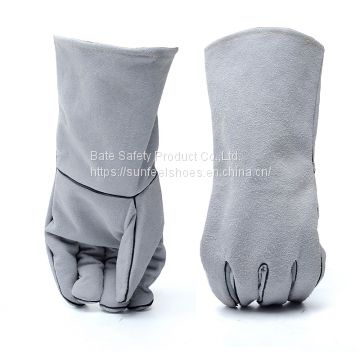 Safe Welding Work Soft Cowhide Leather Gloves For Protecting Hand 1 Pair New