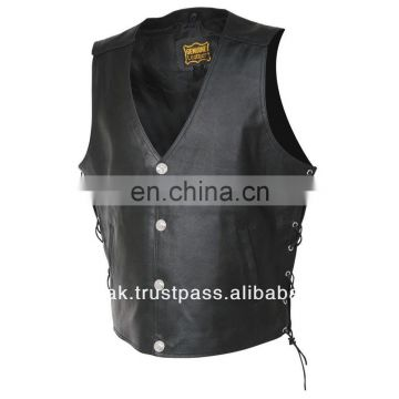 HMB-4820A LEATHER BIKER COWHIDE VESTS BLACK VEST COAT JACKET
