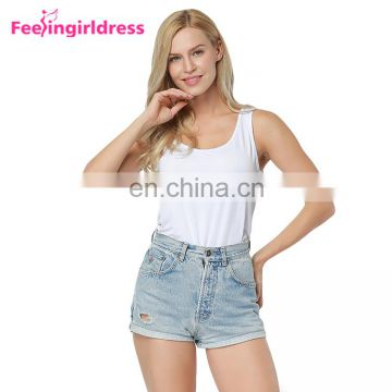 Women Fashion White Casual Vest New Style Bamboo Material Causal Ladies Vest