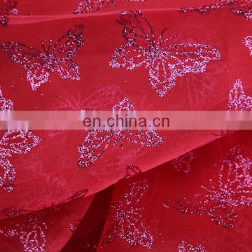 2015 Hot Selling In Europe Market China Traditional Red Butterful Spraying Organza Designer Fabric