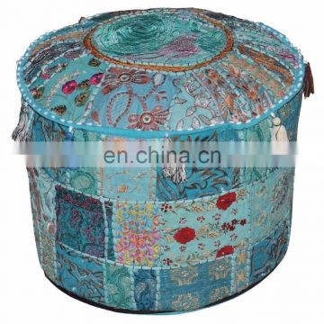 Indian Hand work Home Decor Patchwork Embroidery Work Ottoman Cotton Pouf Cover Living Room Ottoman Cover wholesale Lot