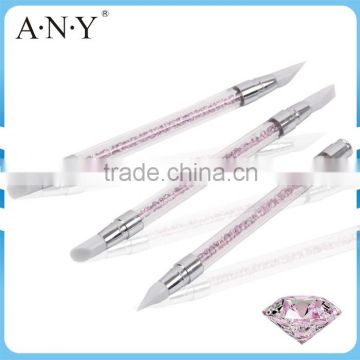 ANY Nail Art Design Beauty Clay Sculpture Rhinstone 3PCS Nail Art Silicone Brush Set                                                                         Quality Choice